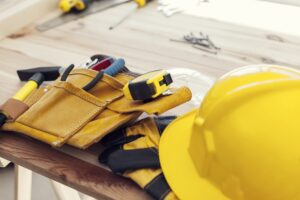 Workplace of professional construction worker